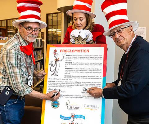dr seuss proclamation with mayors and Joanne Rebollo