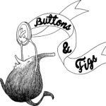 a creature holds a button, ribbon reads Buttons & Figs