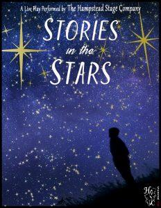 Shadowed figure looks into a blue sky with yellow stars, text reads Play performed by the Hampstead Stage Company: Stories in the Stars