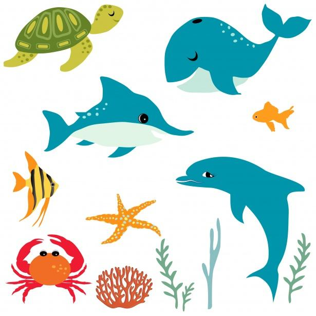 Cartoon sea creatures: green turtle, blue whale shark and dolphin, orange fish and sea star, red crab, and plant life