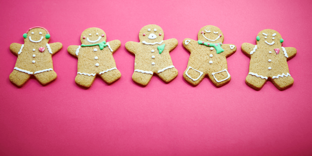 Gingerbread cookies in a row