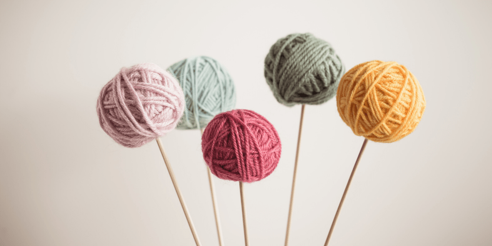 Yarn balls on sticks