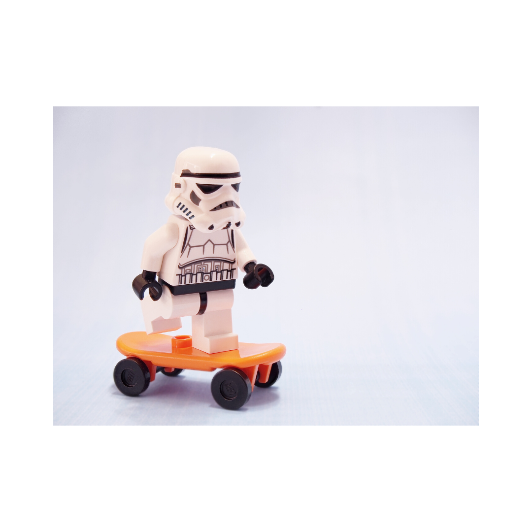 Lego character on a skateboard