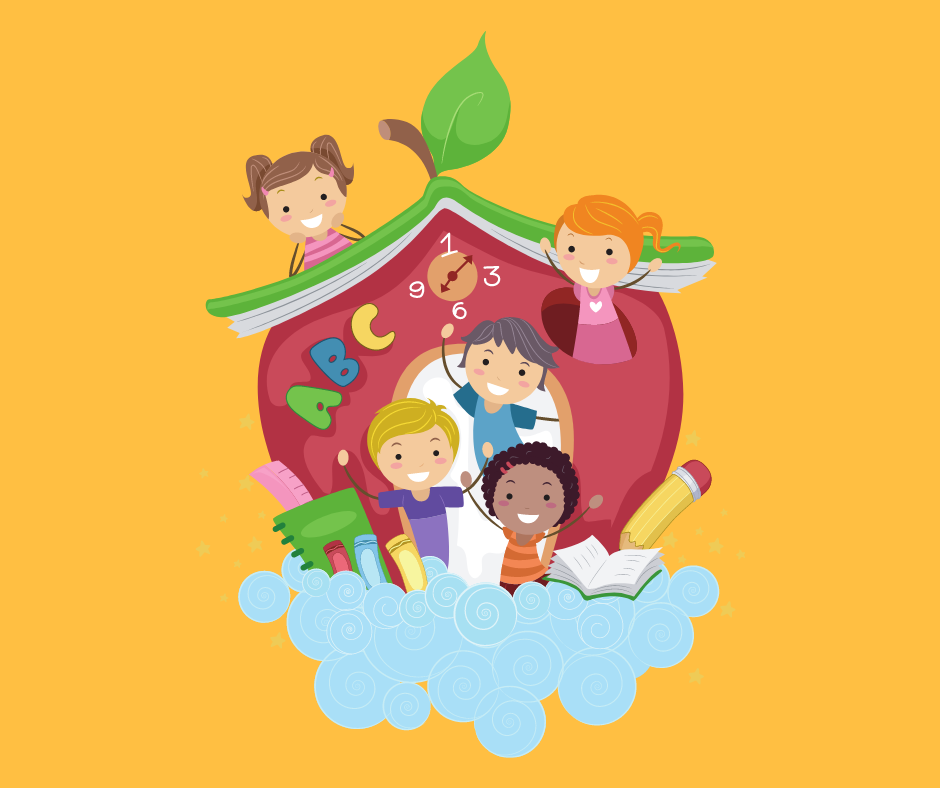 Children in cartoon apple shaped school