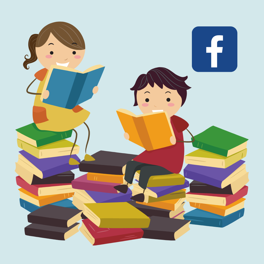 a boy and a girl reading among piles of books. Facebook logo in corner.