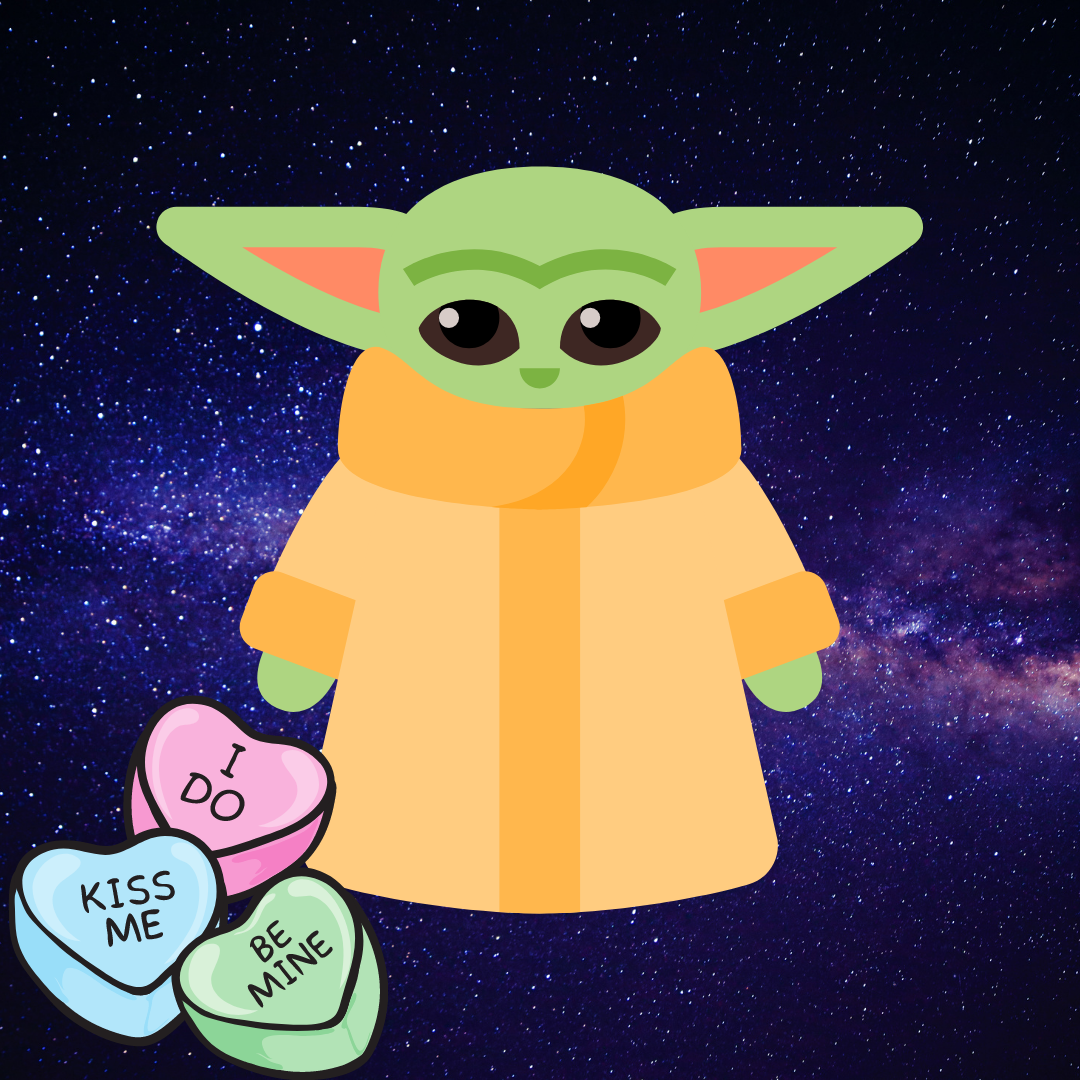 Baby yoda with conversation heart candies