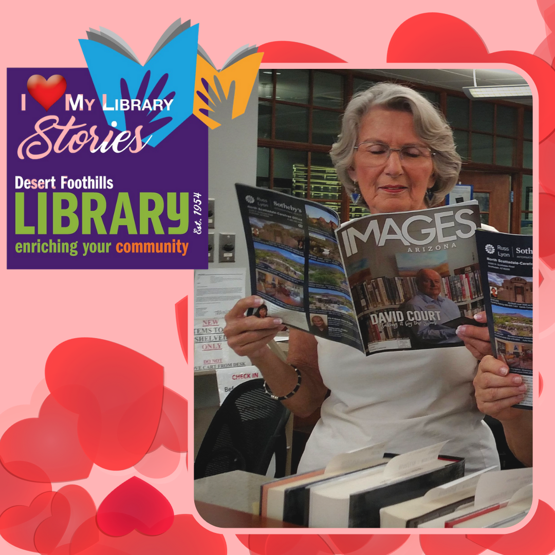 Volunteer holding Images Arizona Magazine while working at the circulation desk